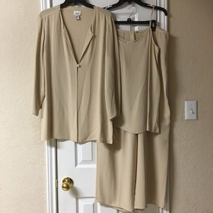 Eileen Fisher Beige 3 Piece Silk Wide Leg Suit